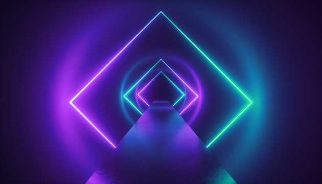 3d render, virtual reality environment, neon light, square esoteric portal, tunnel, corridor, ultraviolet abstract background, laser show, fashion catwalk podium, path, way, stage, floor reflection