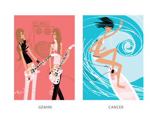Surfing woman and two teen girls playing the guitar as gemini and cancer horoscope signs.