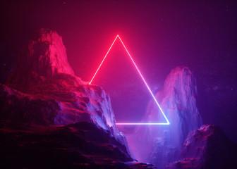 3d render, abstract background, cosmic landscape, triangular portal, pink blue neon light, virtual...