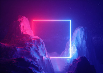 Fond de hotte en verre imprimé Prune 3d render, abstract background, cosmic landscape, square portal, pink blue neon light, virtual reality, energy source, glowing quad, dark space, ultraviolet spectrum, laser frame, smoke, fog, rocks