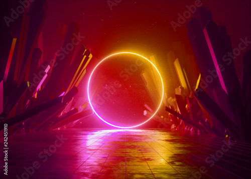 3d Render Abstract Background Cosmic Landscape Round