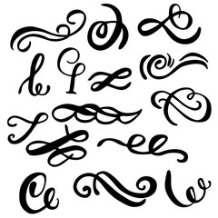 Set of hand draw elements, lines and ornaments of calligraphy brush.