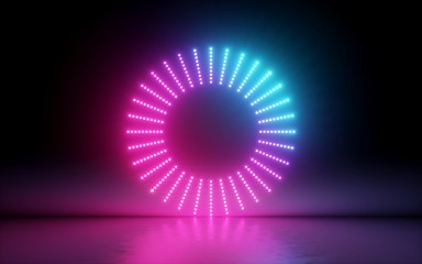 3d render, abstract background, round screen, ring, glowing dots, neon light, virtual reality, volume equalizer interface, hud, pink blue spectrum, vibrant colors, laser disc, floor reflection