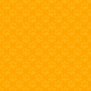 Seamless yellow cartoon cat footprints tracks pattern