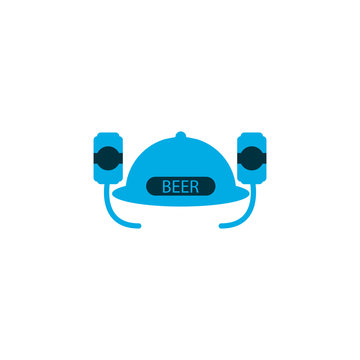 Beer helmet icon colored symbol. Premium quality isolated hat element in trendy style.