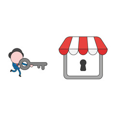 Vector illustration of businessman character carrying key to lock or unlock store keyhole. Color and black outlines.