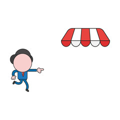 Vector illustration of businessman character running and pointing store awning. Color and black outlines.
