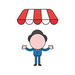 Vector illustration of businessman character under store awning. Color and black outlines.