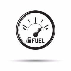 Monochrome fuel gauge icon