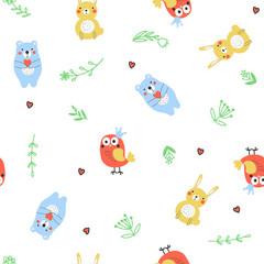 Fototapete - Seamless pattern with cartoon animals