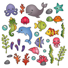 Set of isolated cute marine animals, seawweed and corals
