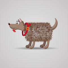 cute funny cartoon fluffy dog in a red collar