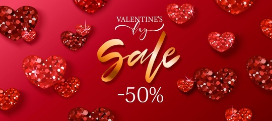 Valentine's day sale background with red hearts. Romantic design for flyer, card, invitation, poster, banner.