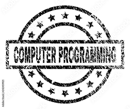 COMPUTER PROGRAMMING Stamp Seal Watermark With Distress Style Designed Rectangle Circles And Stars