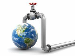 3d Globe and Pipeline. Image with clipping path