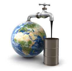 3d Globe and faucet with oil. Image with clipping path