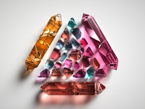 3d render, colorful spiritual crystals isolated on white background, reiki healing quartz, mystical triangle, rough nuggets, faceted fashion gemstones, semiprecious gems, triangle shape