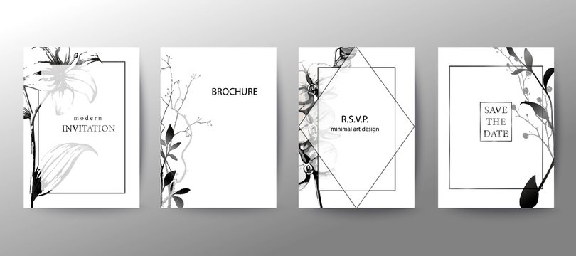 Set of elegant brochure, card, cover. Black and white botanical design. Hand drawn lilies, orchids, leaves.