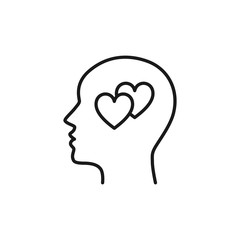 Black isolated outline icon of head of man and two hearts on white background. Line icon of head of man and hearts. Love think. Flat design.