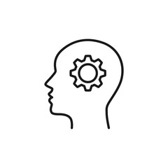 Black isolated outline icon of head of man and cogwheel on white background. Line icon of head and gear wheel. Flat design.