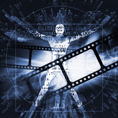 Cinema photography vintage background with Vitruvian man. Illustration of blue dynamic background with a cinema strips and futuristic stylized silhouette of Vitruvian man.
