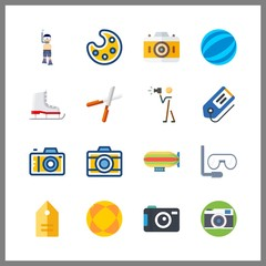 16 hobby icon. Vector illustration hobby set. photograph and ice skate icons for hobby works