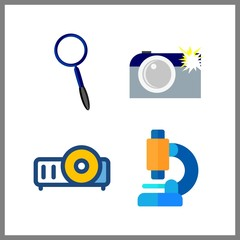 4 lens icon. Vector illustration lens set. camera and projector icons for lens works