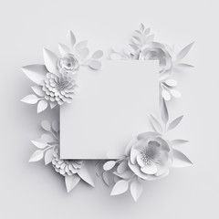 3d render, abstract white paper flowers, square frame, floral background, decoration, greeting card template, blank banner