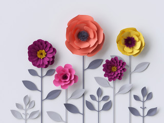 3d paper flowers isolated on white background, decorative design elements, greeting card