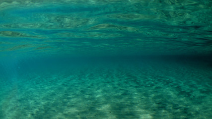 Underwater photo of super paradise beach with turquoise clear sea located in Greek island of Mykonos, Cyclades, Greece