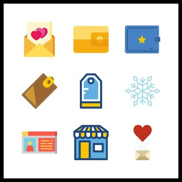 9 card icon. Vector illustration card set. billfold and snowflake icons for card works