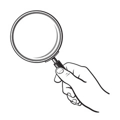 Hand holding magnifying glass. Search and analysis concept. Black and white sketch. Hand drawn vector illustration isolated on white.
