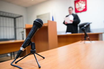 Judge of the Russian Federation in the courtroom announces the verdict