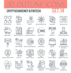 Cryptocurrency and Fintech Outline Icons