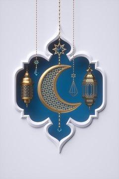 3d render, blue arabic frame, ornaments hanging on golden chains, lantern, tribal decoration, festive greeting card template, arabesque design, empty banner, white background