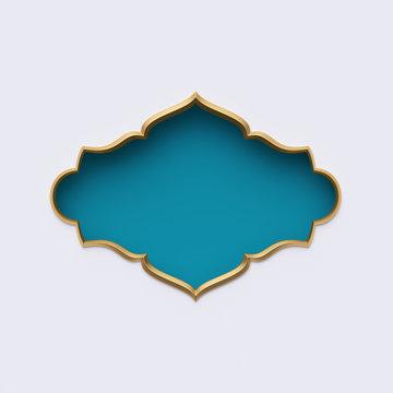 3d render, blue gold arabic frame, ornate shape, tribal decor, festive greeting card template, arabesque design, empty banner, isolated on white background