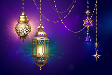 3d render, decorative lanterns hanging on golden chains, glowing light, arabic traditional decor, tribal festive decoration, Ramadan Kareem, greeting card, starry night background, illustration