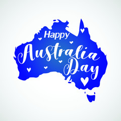 Happy Australia day Australia silhoutte with text on white background vector illustration flat desing