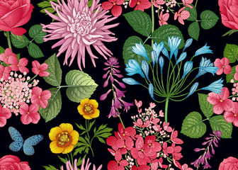 Floral seamless pattern. Asters and hydrangeas.