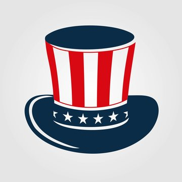 Uncle Sam's hat icon isolated on white background. Vector illustration.
