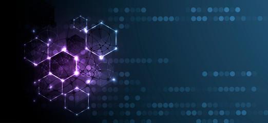Abstract hexagon background. Technology poligonal design. Digital futuristic minimalism Wall mural
