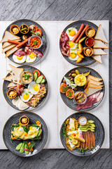 Dishes for breakfast. Six types of breakfast.