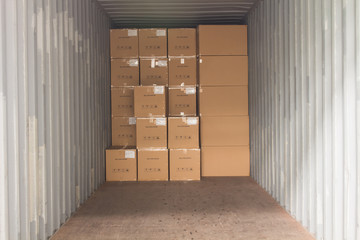The cartons with loading into of container