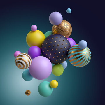 3d render, abstract geometric background, colorful balls, multicolored balloons, candy, primitive shapes, minimalistic design, party decoration, plastic toys, isolated elements
