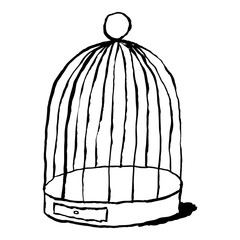 Black birds cage isolated on white background. Sketch drawing was drawn with the brush and ink. The design graphic element is saved as a vector illustration in the EPS file format.