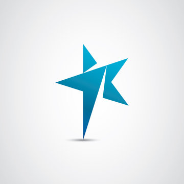 One and star vector logo illustration