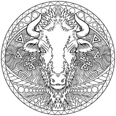 Vector of a buffalo head design on white background.