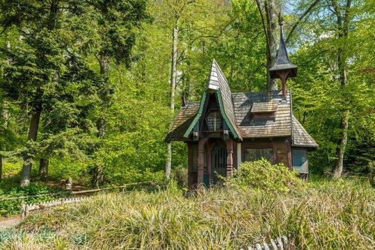 Witch's cottage at Stadtgarten botanical garden, Uberlingen, Lake Constance, Baden-Wurttemberg, Germany, Europe