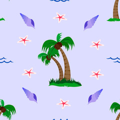 Vector seamless pattern with tropical beach elements and blue background.