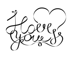I love you phrase with decorative elements heart and curls for Valentine. Handwritten quote. Black and white lettering. Vector illustration.
